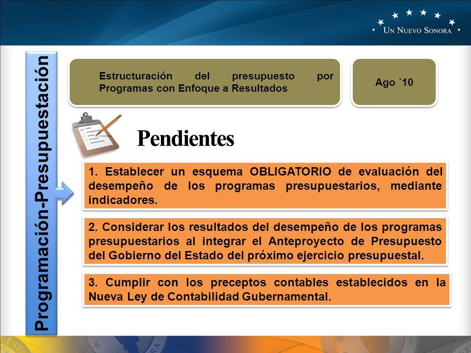 Programación-Presupuestación Estructuración del presupuesto por Programas con Enfoque a Resultados Ago ´10 Pendientes 1.