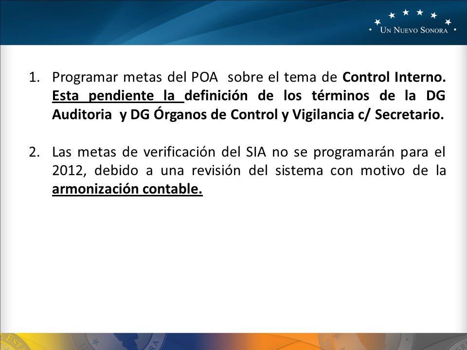 1.Programar metas del POA sobre el tema de Control Interno.