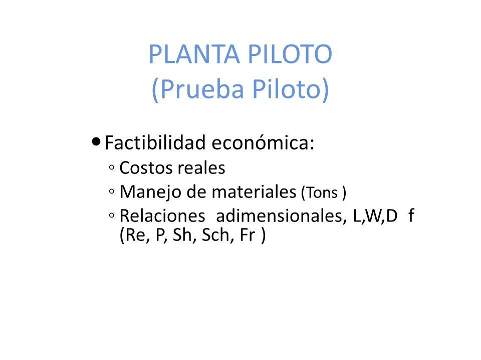 PLANTA PILOTO (Prueba Piloto) Factibilidad económica: Costos reales Manejo de materiales (Tons ) Relaciones adimensionales, L,W,D f (Re, P, Sh, Sch, Fr )