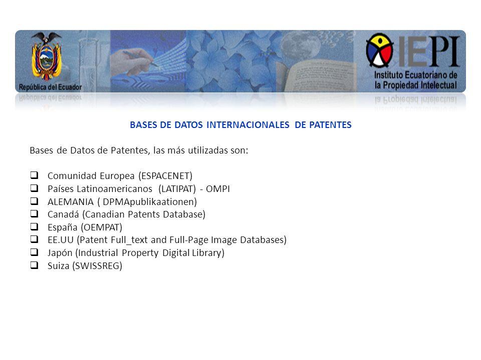 www.iepi.gob.ec BASES DE DATOS INTERNACIONALES DE PATENTES Bases de Datos de Patentes, las más utilizadas son: Comunidad Europea (ESPACENET) Países La
