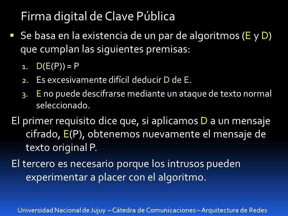 Universidad Nacional de Jujuy – Cátedra de Comunicaciones – Arquitectura de Redes Firma digital de Clave Pública Se basa en la existencia de un par de