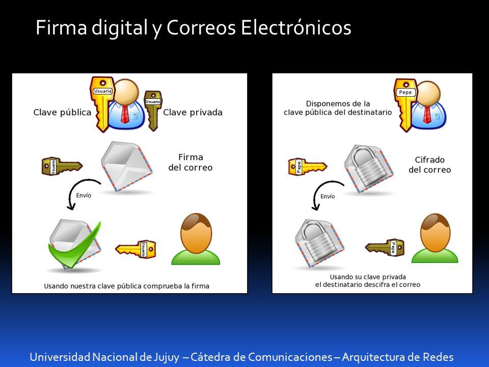 Universidad Nacional de Jujuy – Cátedra de Comunicaciones – Arquitectura de Redes Firma digital y Correos Electrónicos