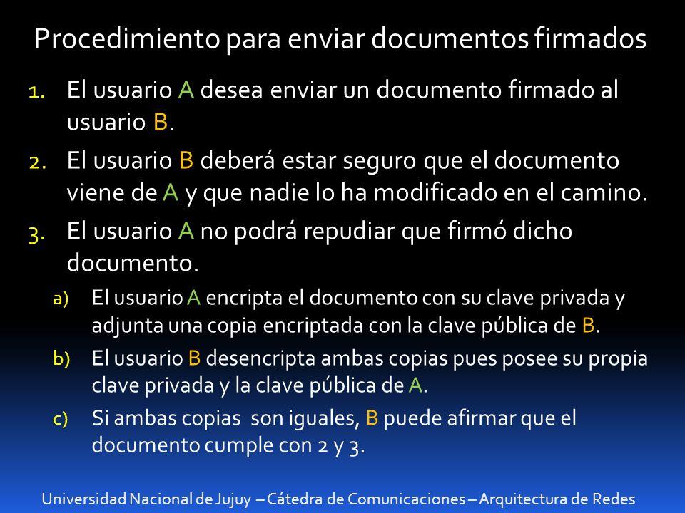 Universidad Nacional de Jujuy – Cátedra de Comunicaciones – Arquitectura de Redes Procedimiento para enviar documentos firmados 1. El usuario A desea