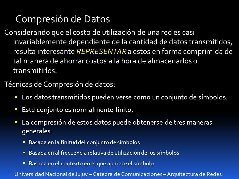 Universidad Nacional de Jujuy – Cátedra de Comunicaciones – Arquitectura de Redes Compresión de Datos Considerando que el costo de utilización de una