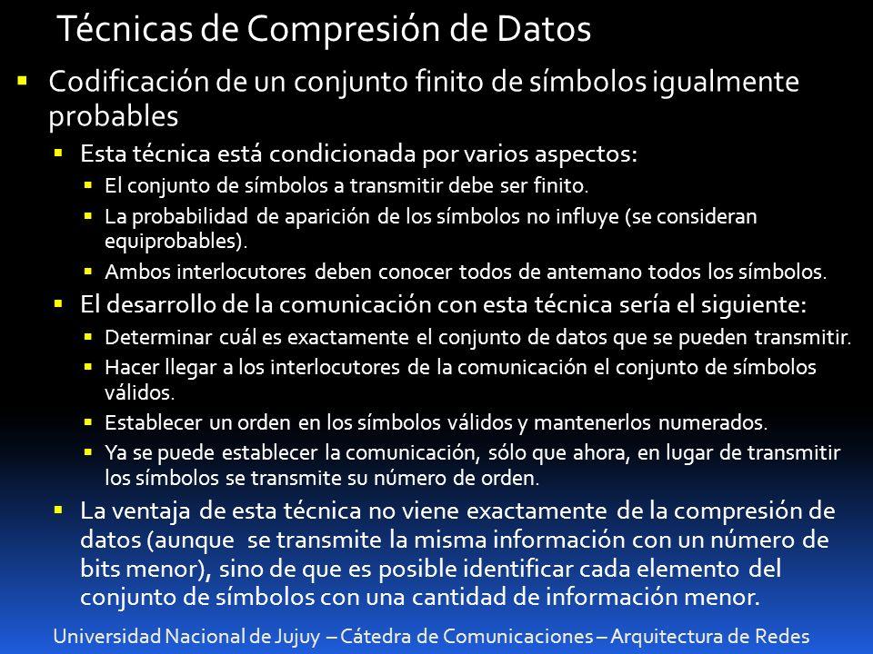 Universidad Nacional de Jujuy – Cátedra de Comunicaciones – Arquitectura de Redes Técnicas de Compresión de Datos Codificación de un conjunto finito d