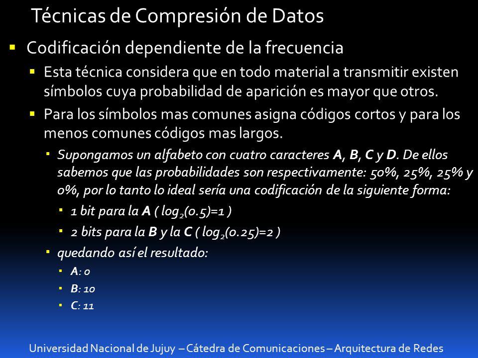 Universidad Nacional de Jujuy – Cátedra de Comunicaciones – Arquitectura de Redes Técnicas de Compresión de Datos Codificación dependiente de la frecu