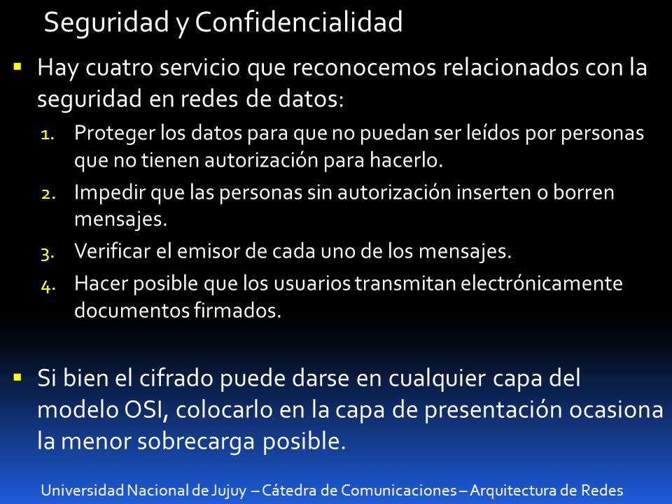 Universidad Nacional de Jujuy – Cátedra de Comunicaciones – Arquitectura de Redes Seguridad y Confidencialidad Hay cuatro servicio que reconocemos relacionados con la seguridad en redes de datos: 1.