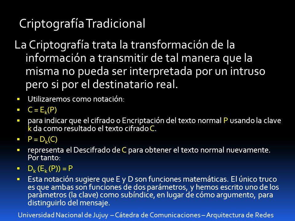 Universidad Nacional de Jujuy – Cátedra de Comunicaciones – Arquitectura de Redes Criptografía Tradicional La Criptografía trata la transformación de la información a transmitir de tal manera que la misma no pueda ser interpretada por un intruso pero si por el destinatario real.