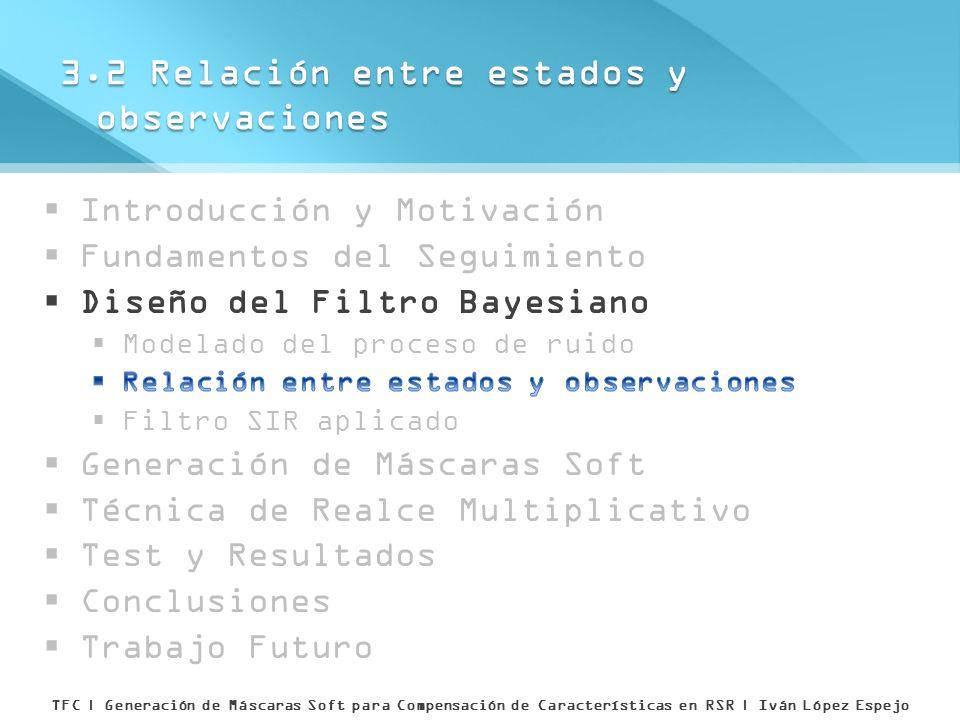 3.2 Relación entre estados y observaciones TFC | Generación de Máscaras Soft para Compensación de Características en RSR | Iván López Espejo