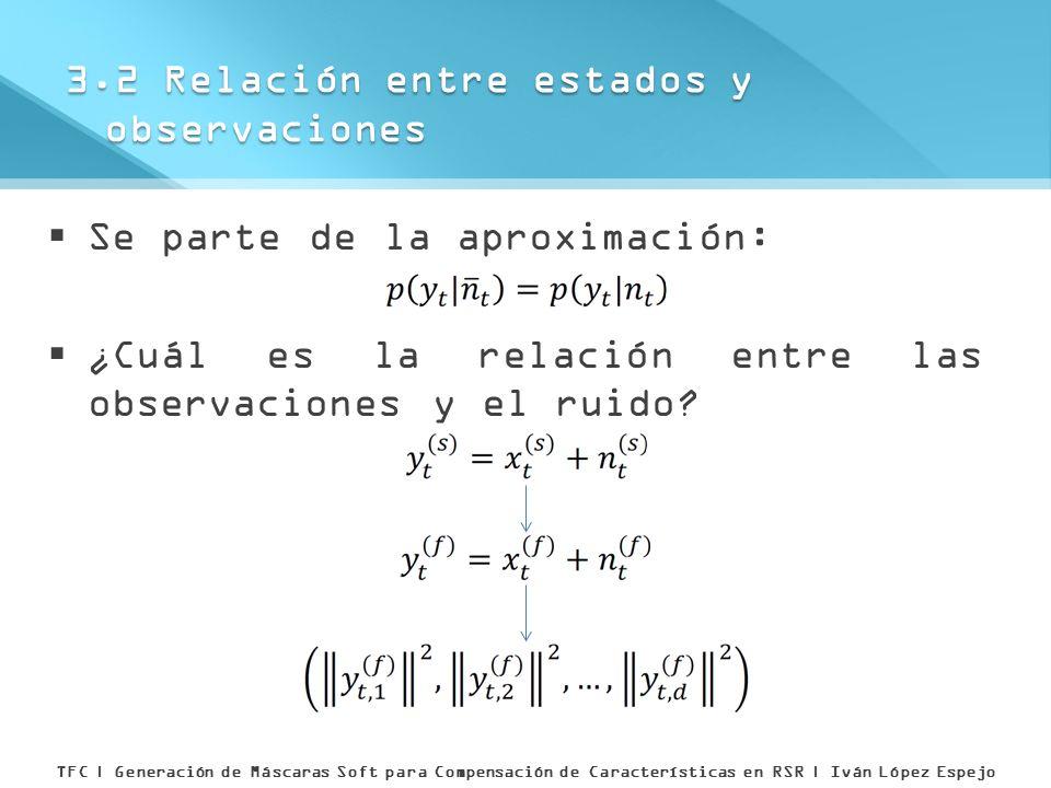 Se parte de la aproximación: ¿Cuál es la relación entre las observaciones y el ruido? 3.2 Relación entre estados y observaciones TFC | Generación de M