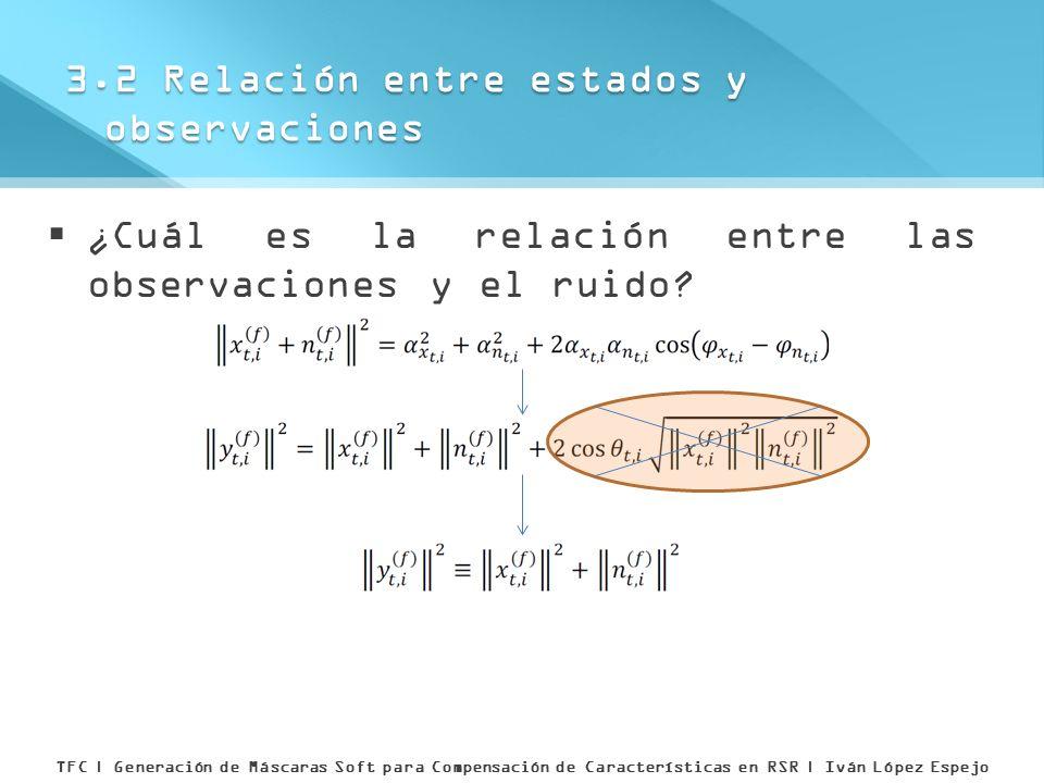 ¿Cuál es la relación entre las observaciones y el ruido? 3.2 Relación entre estados y observaciones TFC | Generación de Máscaras Soft para Compensació