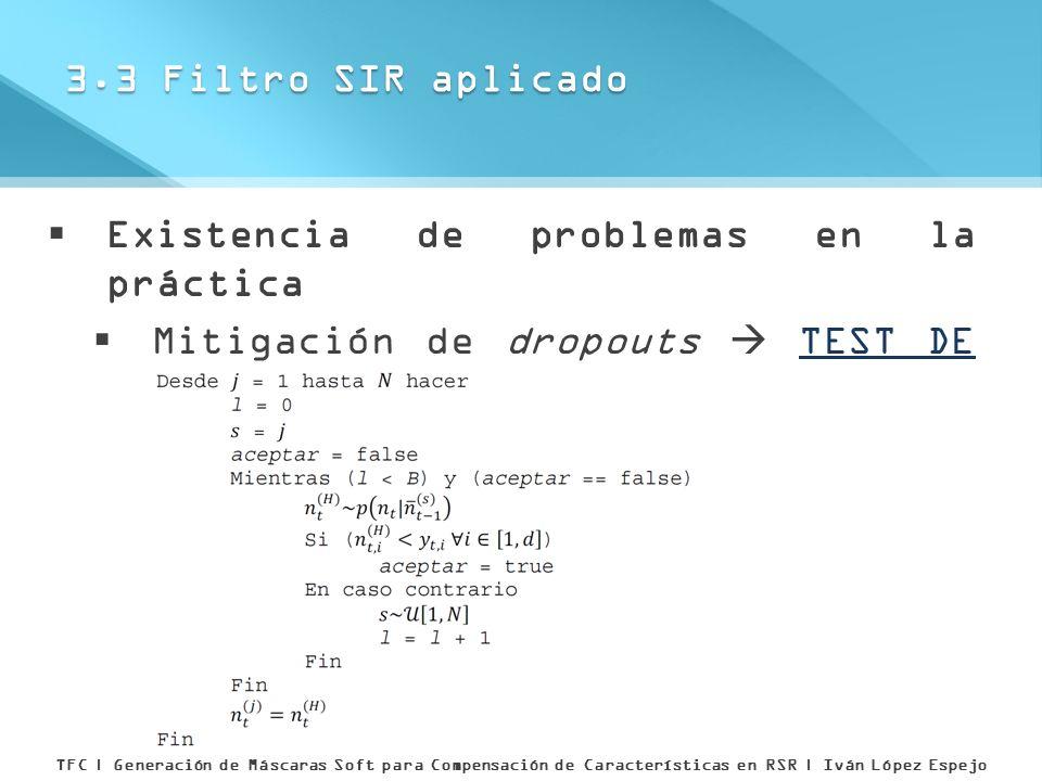 Existencia de problemas en la práctica Mitigación de dropouts TEST DE ACEPTACIÓN RÁPIDA 3.3 Filtro SIR aplicado TFC | Generación de Máscaras Soft para