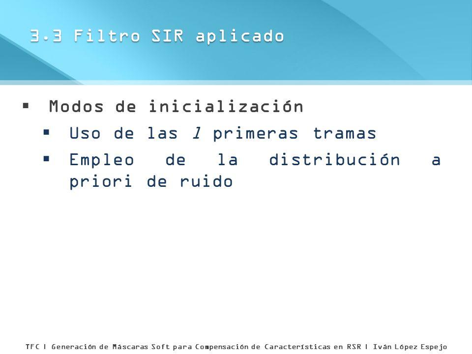 Modos de inicialización Uso de las l primeras tramas Empleo de la distribución a priori de ruido 3.3 Filtro SIR aplicado TFC | Generación de Máscaras
