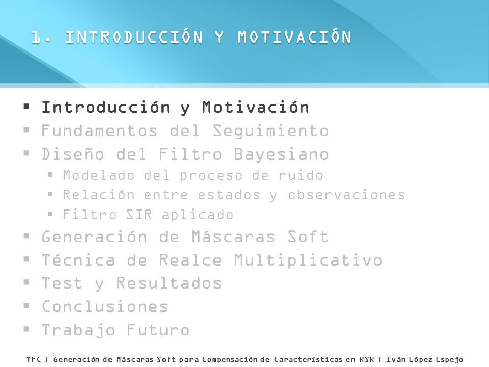 Introducción y Motivación Fundamentos del Seguimiento Diseño del Filtro Bayesiano Modelado del proceso de ruido Relación entre estados y observaciones