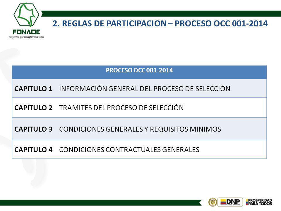 2. REGLAS DE PARTICIPACION – PROCESO OCC 001-2014 PROCESO OCC 001-2014 CAPITULO 1INFORMACIÓN GENERAL DEL PROCESO DE SELECCIÓN CAPITULO 2TRAMITES DEL P