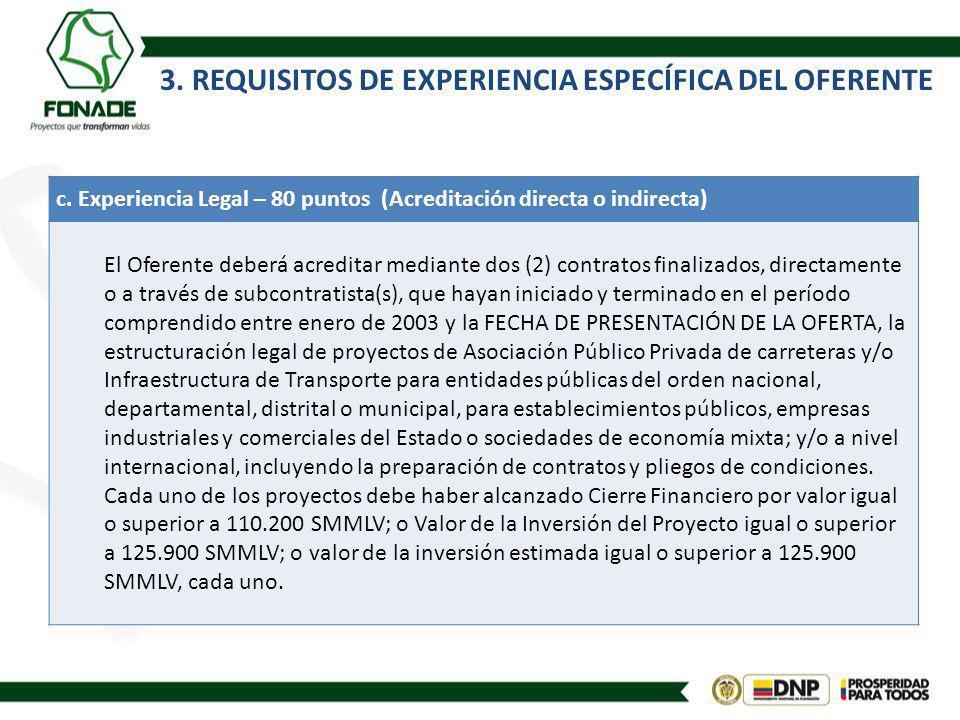3.REQUISITOS DE EXPERIENCIA ESPECÍFICA DEL OFERENTE d.