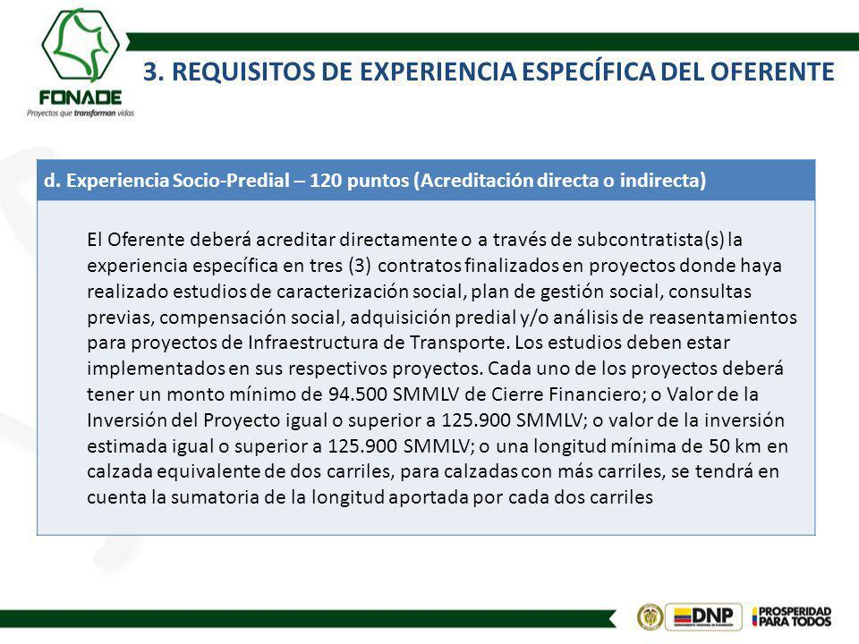 3. REQUISITOS DE EXPERIENCIA ESPECÍFICA DEL OFERENTE d. Experiencia Socio-Predial – 120 puntos (Acreditación directa o indirecta) El Oferente deberá a