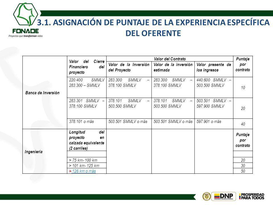 3.1. ASIGNACIÓN DE PUNTAJE DE LA EXPERIENCIA ESPECÍFICA DEL OFERENTE Banca de Inversión Valor del Cierre Financiero del proyecto Valor del ContratoPun