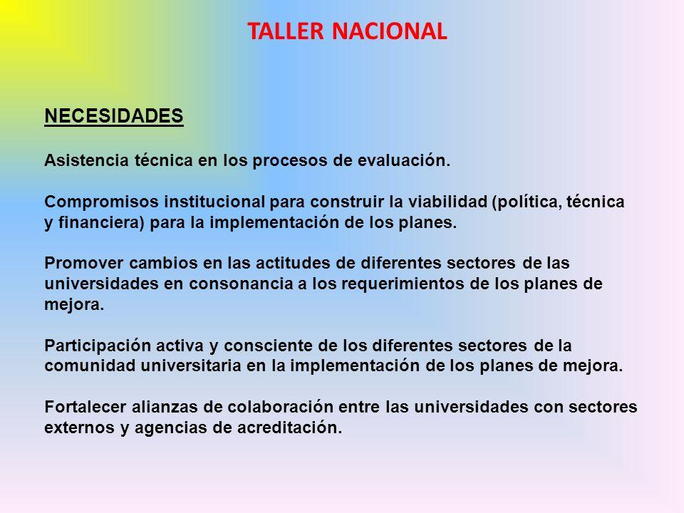 NECESIDADES Asistencia técnica en los procesos de evaluación. Compromisos institucional para construir la viabilidad (política, técnica y financiera)