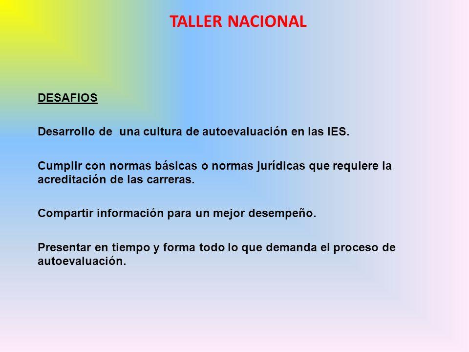DESAFIOS Desarrollo de una cultura de autoevaluación en las IES.