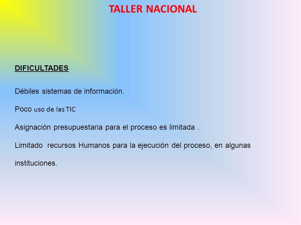 TALLER NACIONAL DIFICULTADES Débiles sistemas de información. Poco uso de las TIC Asignación presupuestaria para el proceso es limitada. Limitado recu