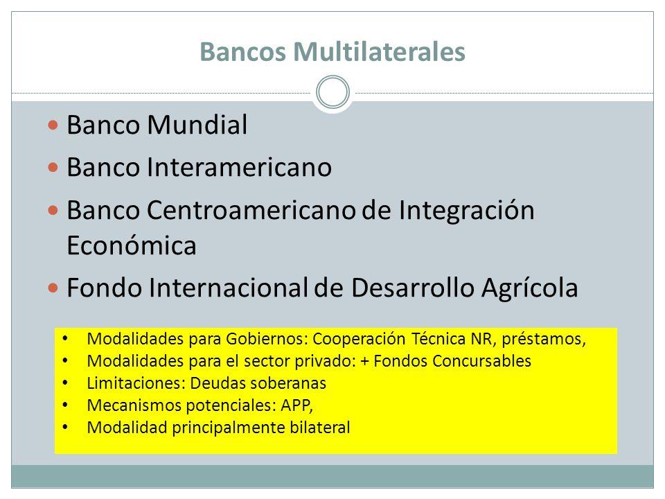 Banco Mundial Banco Interamericano Banco Centroamericano de Integración Económica Fondo Internacional de Desarrollo Agrícola Modalidades para Gobierno