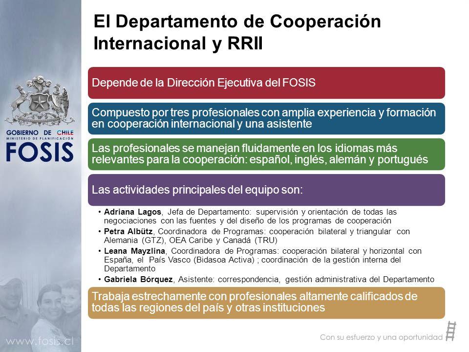 El Departamento de Cooperación Internacional y RRII Depende de la Dirección Ejecutiva del FOSIS Compuesto por tres profesionales con amplia experienci