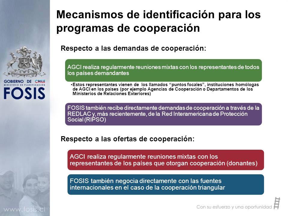Mecanismos de identificación para los programas de cooperación AGCI realiza regularmente reuniones mixtas con los representantes de todos los países d