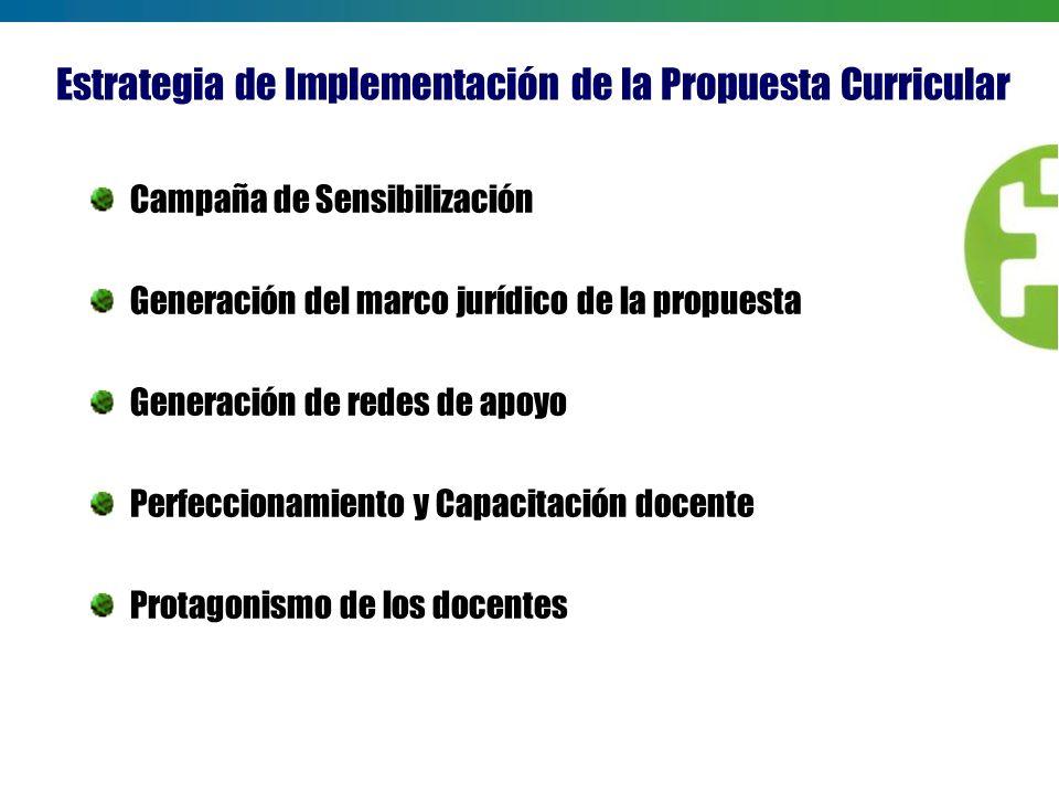 Estrategia de Implementación de la Propuesta Curricular Campaña de Sensibilización Generación del marco jurídico de la propuesta Generación de redes d