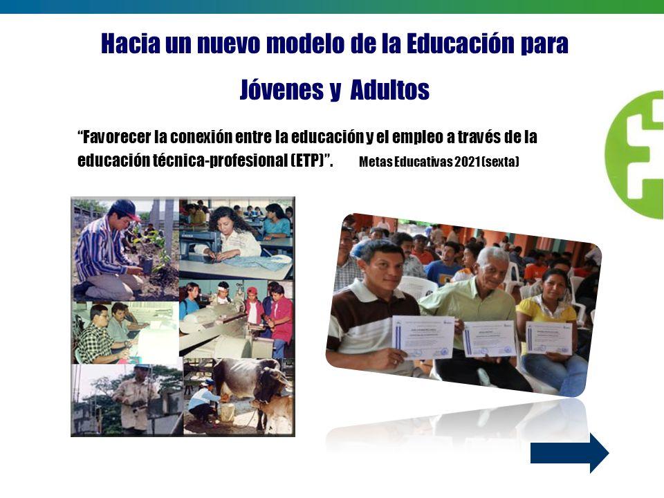 Favorecer la conexión entre la educación y el empleo a través de la educación técnica-profesional (ETP). Metas Educativas 2021 (sexta) Hacia un nuevo