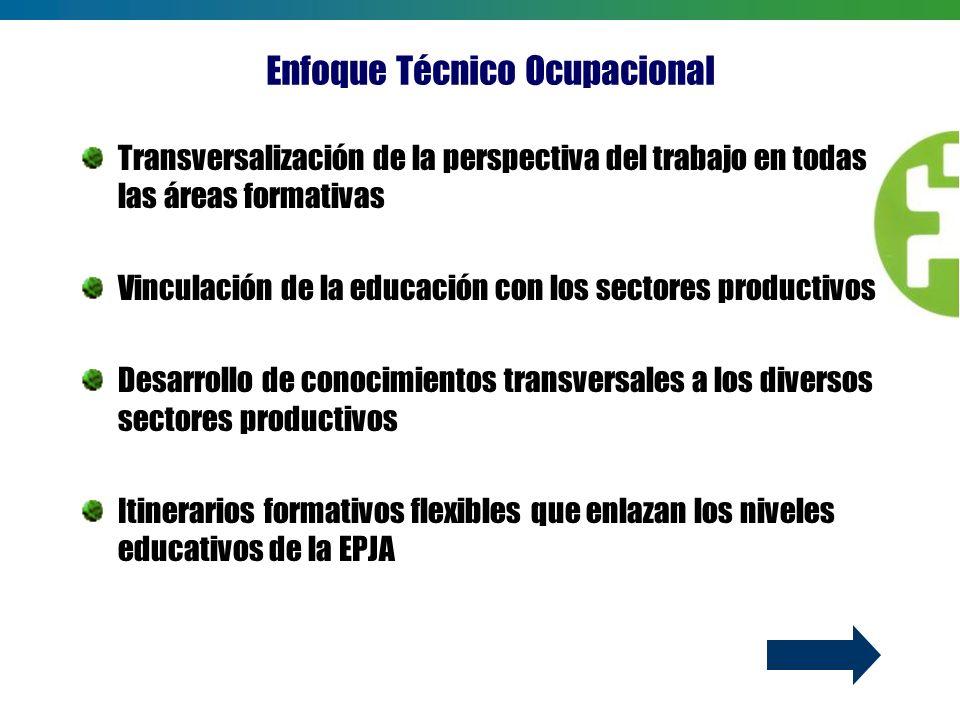 Transversalización de la perspectiva del trabajo en todas las áreas formativas Vinculación de la educación con los sectores productivos Desarrollo de