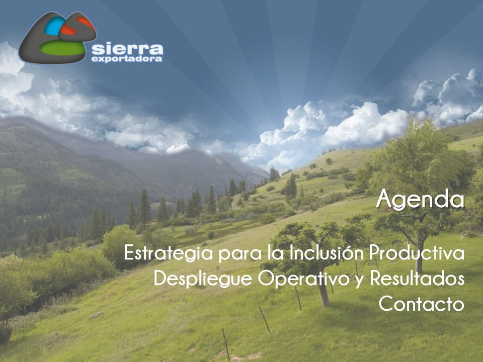 Agenda Estrategia para la Inclusión Productiva Despliegue Operativo y Resultados Contacto