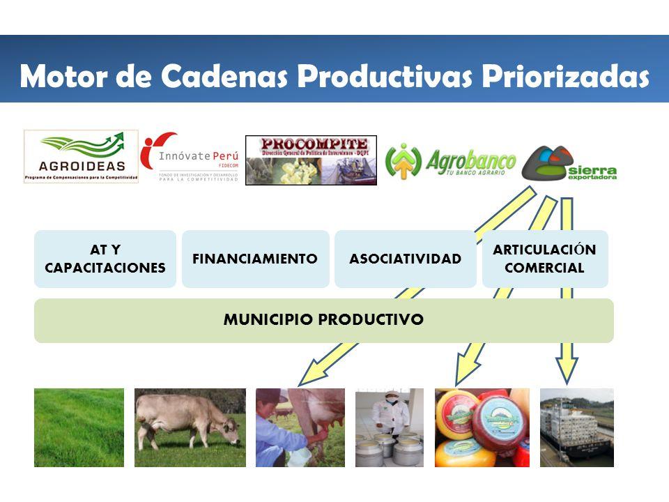 MUNICIPIO PRODUCTIVO AT Y CAPACITACIONES ASOCIATIVIDAD ARTICULACIÓN COMERCIAL FINANCIAMIENTO Motor de Cadenas Productivas Priorizadas
