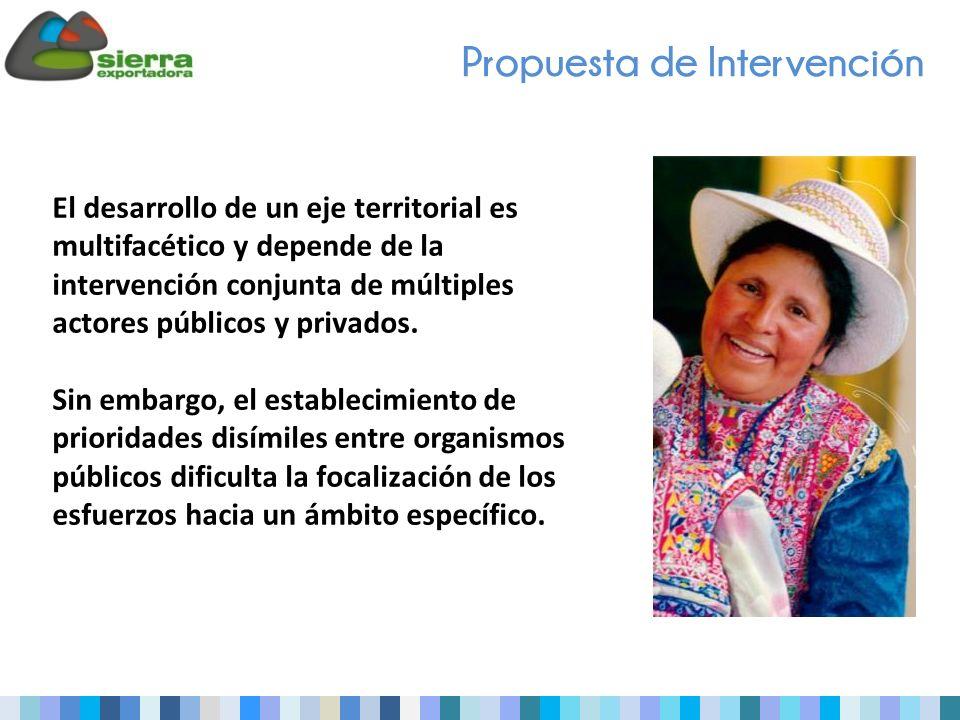 Propuesta de Intervención El desarrollo de un eje territorial es multifacético y depende de la intervención conjunta de múltiples actores públicos y privados.