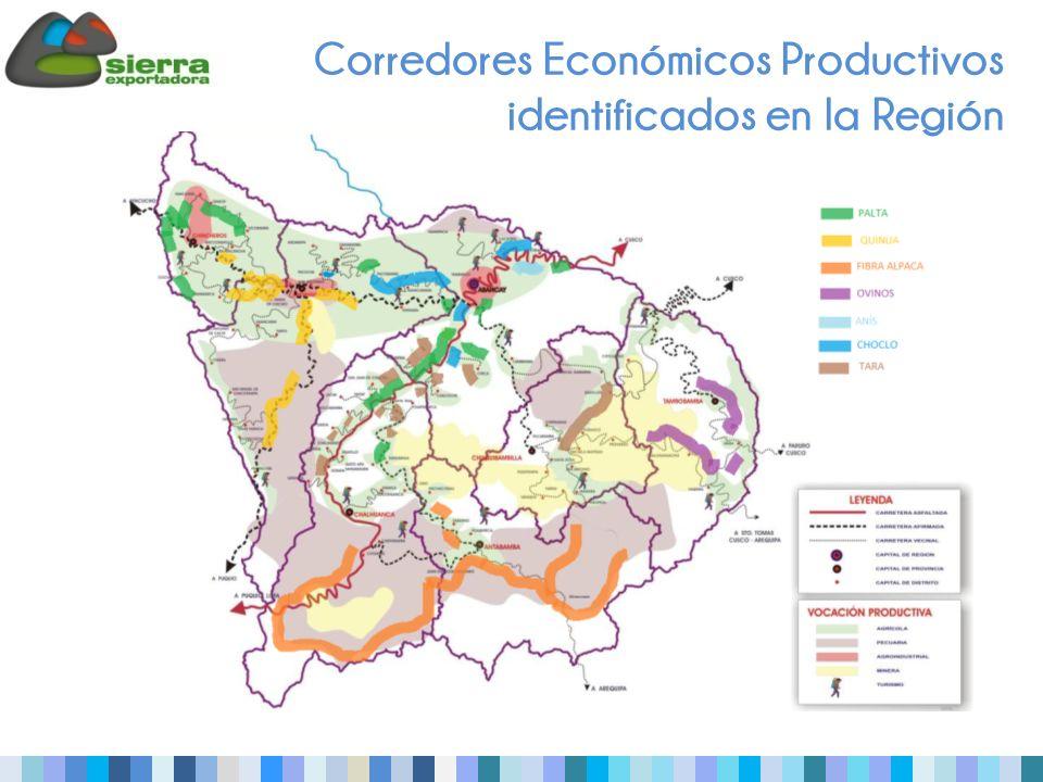 Corredores Económicos Productivos identificados en la Región