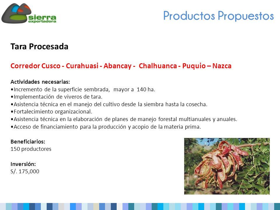 Tara Procesada Corredor Cusco - Curahuasi - Abancay - Chalhuanca - Puquio – Nazca Actividades necesarias: Incremento de la superficie sembrada, mayor a 140 ha.