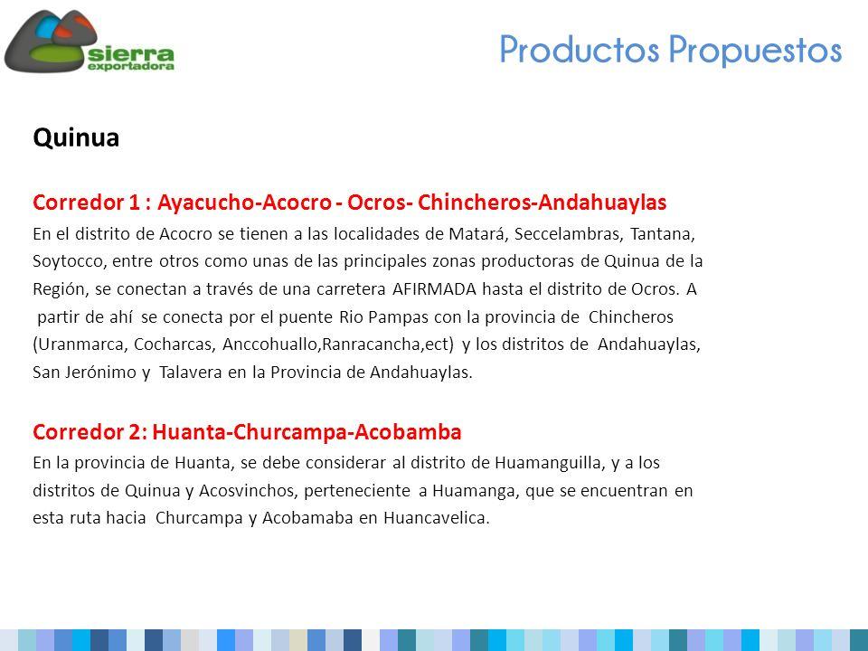 Quinua Corredor 1 : Ayacucho-Acocro - Ocros- Chincheros-Andahuaylas En el distrito de Acocro se tienen a las localidades de Matará, Seccelambras, Tantana, Soytocco, entre otros como unas de las principales zonas productoras de Quinua de la Región, se conectan a través de una carretera AFIRMADA hasta el distrito de Ocros.