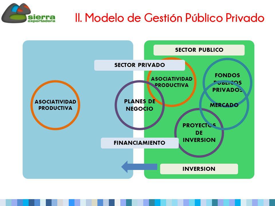 II. Modelo de Gestión Público Privado ASOCIATIVIDAD PRODUCTIVA FONDOS PUBLICOS PRIVADOS PROYECTOS DE INVERSION SECTOR PUBLICO ASOCIATIVIDAD PRODUCTIVA