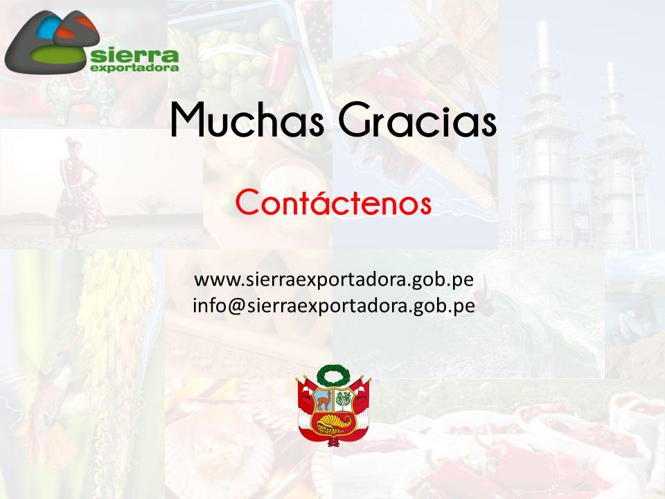Muchas Gracias Contáctenos www.sierraexportadora.gob.pe info@sierraexportadora.gob.pe