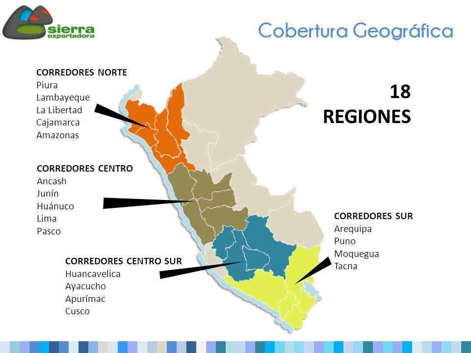 Cobertura Geográfica CORREDORES NORTE Piura Lambayeque La Libertad Cajamarca Amazonas CORREDORES CENTRO Ancash Junín Huánuco Lima Pasco CORREDORES CENTRO SUR Huancavelica Ayacucho Apurímac Cusco CORREDORES SUR Arequipa Puno Moquegua Tacna 18 REGIONES