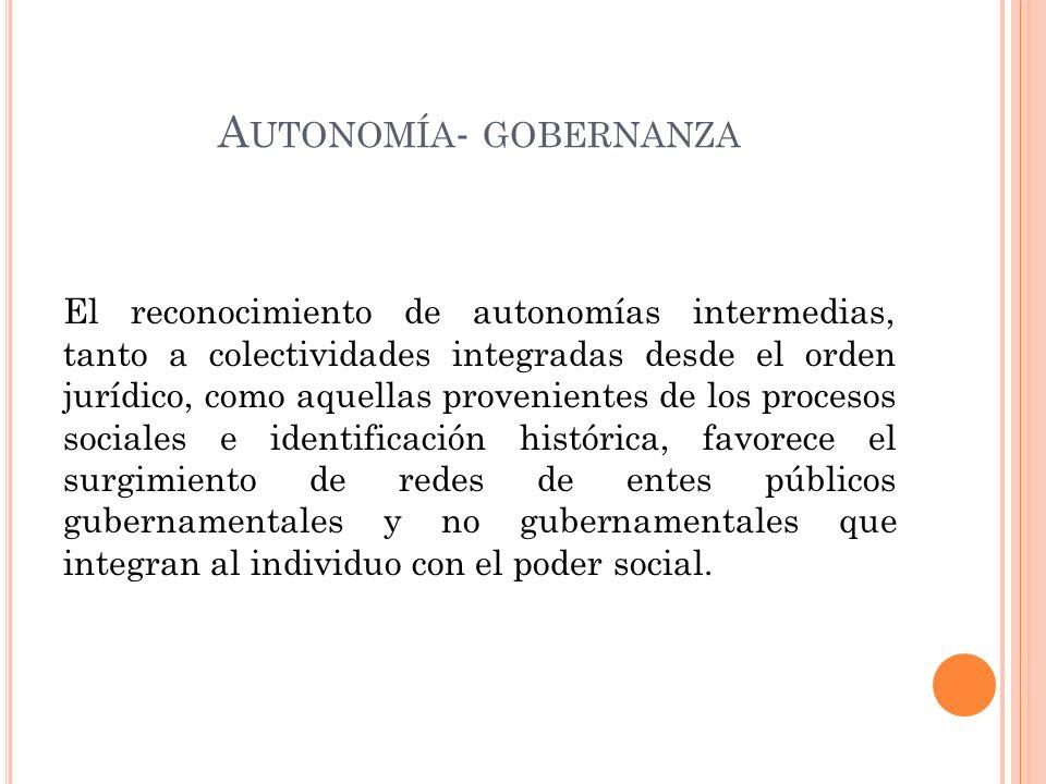 A UTONOMÍA - GOBERNANZA El reconocimiento de autonomías intermedias, tanto a colectividades integradas desde el orden jurídico, como aquellas provenientes de los procesos sociales e identificación histórica, favorece el surgimiento de redes de entes públicos gubernamentales y no gubernamentales que integran al individuo con el poder social.