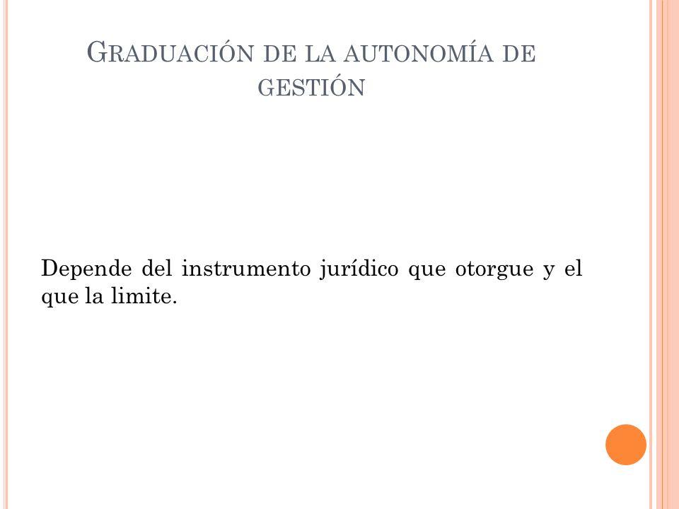 G RADUACIÓN DE LA AUTONOMÍA DE GESTIÓN Depende del instrumento jurídico que otorgue y el que la limite.