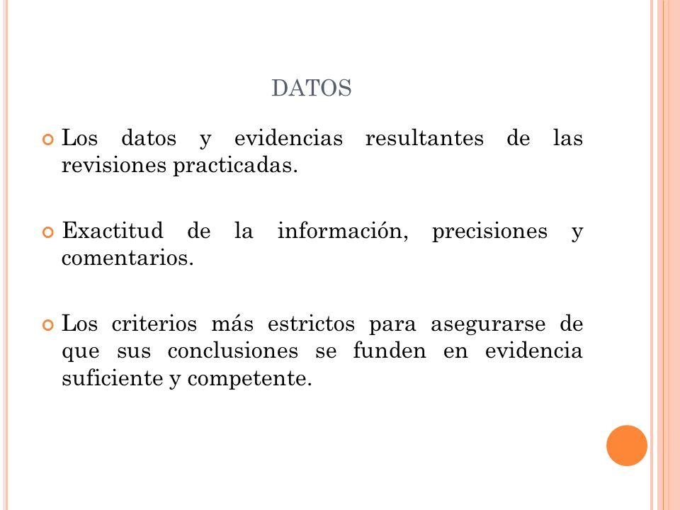 DATOS Los datos y evidencias resultantes de las revisiones practicadas.