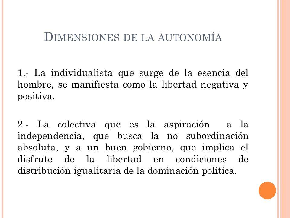 C ONCEPTO JURÍDICO DE LA AUTONOMÍA Una técnica en la que a un individuo se le reconocen derechos (Constitución Política de los Estados Unidos Mexicanos.