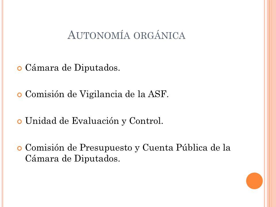 A UTONOMÍA ORGÁNICA Cámara de Diputados. Comisión de Vigilancia de la ASF.
