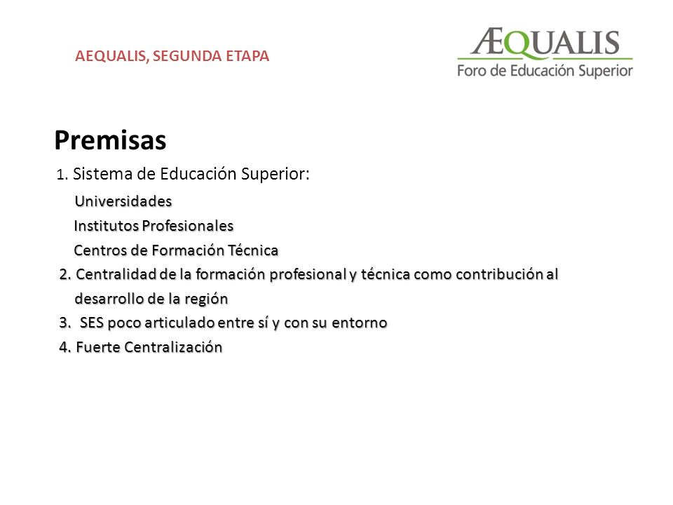 Premisas 1. Sistema de Educación Superior: Universidades Institutos Profesionales Institutos Profesionales Centros de Formación Técnica Centros de For