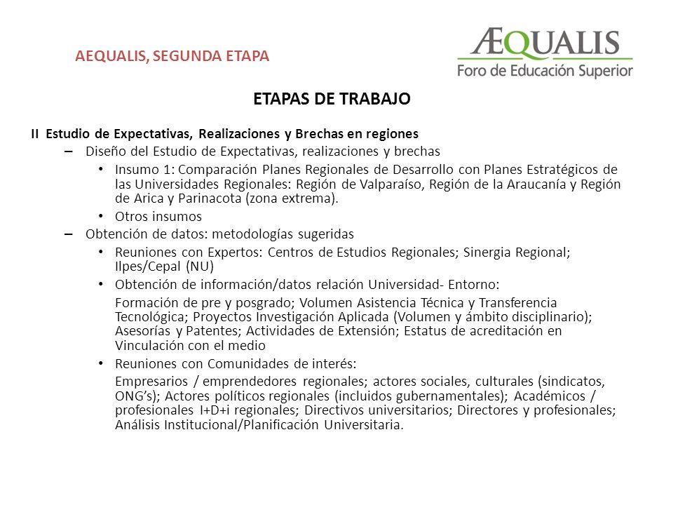ETAPAS DE TRABAJO II Estudio de Expectativas, Realizaciones y Brechas en regiones – Diseño del Estudio de Expectativas, realizaciones y brechas Insumo