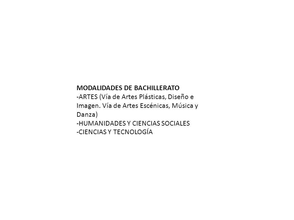 MODALIDADES DE BACHILLERATO -ARTES (Vía de Artes Plásticas, Diseño e Imagen. Vía de Artes Escénicas, Música y Danza) -HUMANIDADES Y CIENCIAS SOCIALES