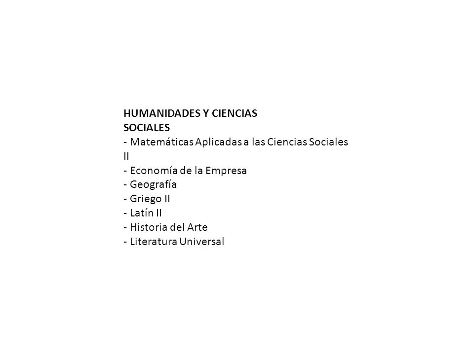 HUMANIDADES Y CIENCIAS SOCIALES - Matemáticas Aplicadas a las Ciencias Sociales II - Economía de la Empresa - Geografía - Griego II - Latín II - Historia del Arte - Literatura Universal
