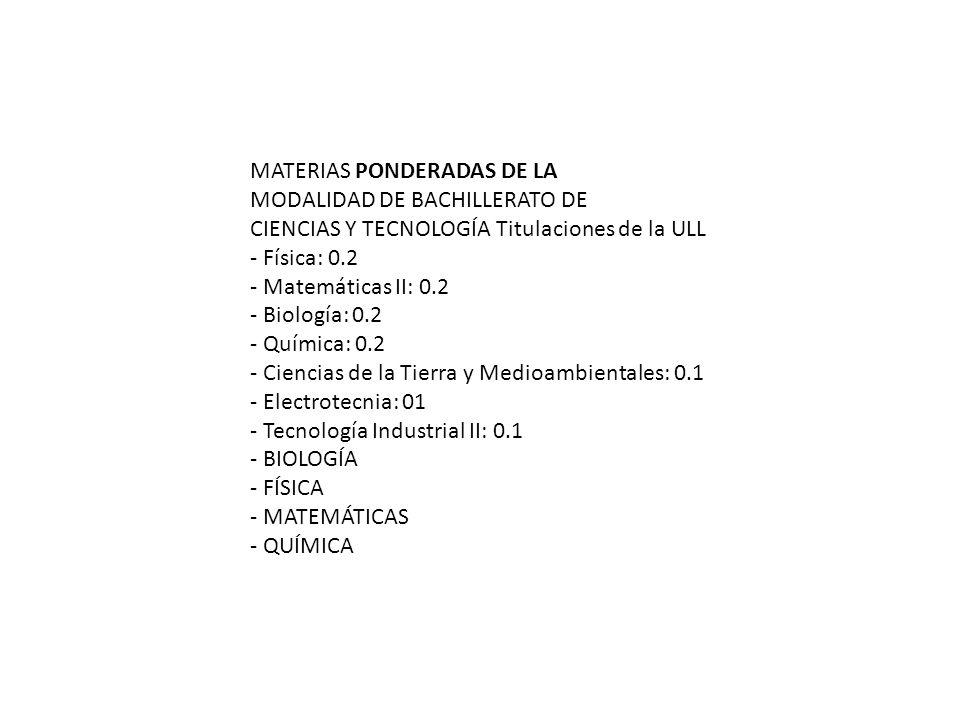 MATERIAS PONDERADAS DE LA MODALIDAD DE BACHILLERATO DE CIENCIAS Y TECNOLOGÍA Titulaciones de la ULL - Física: 0.2 - Matemáticas II: 0.2 - Biología: 0.2 - Química: 0.2 - Ciencias de la Tierra y Medioambientales: 0.1 - Electrotecnia: 01 - Tecnología Industrial II: 0.1 - BIOLOGÍA - FÍSICA - MATEMÁTICAS - QUÍMICA